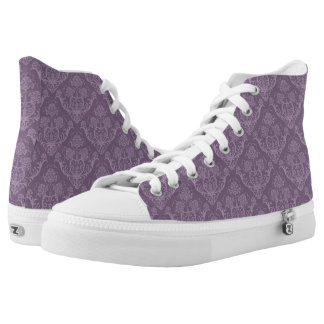 Purple floral wallpaper high tops