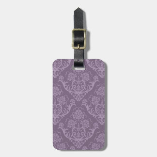 Purple floral wallpaper luggage tag