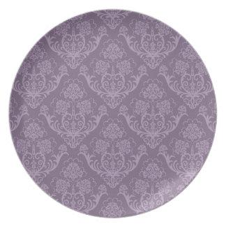 Purple floral wallpaper plate