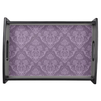 Purple floral wallpaper serving tray