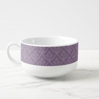 Purple floral wallpaper soup mug