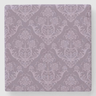 Purple floral wallpaper stone coaster