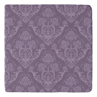 Purple floral wallpaper trivet