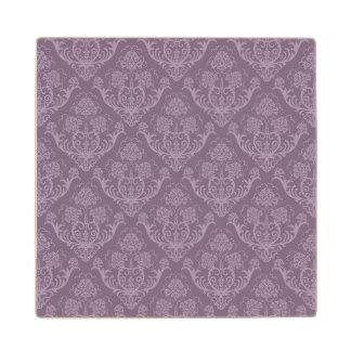 Purple floral wallpaper wood coaster