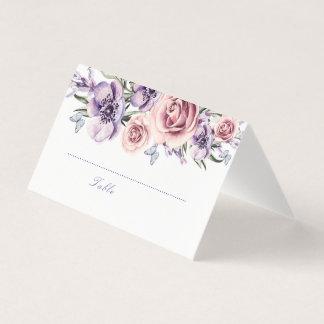 Purple Floral Watecolor Place Card