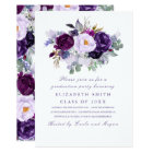 Purple Floral Watercolor Romantic Graduation Party Card