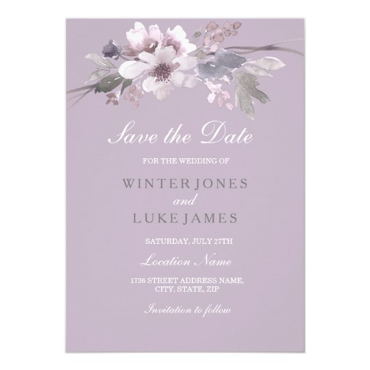 Purple Floral Watercolor Save The Date Invitation