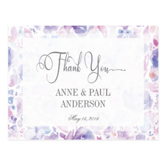 Purple Floral Watercolor Thank You Card Postcard