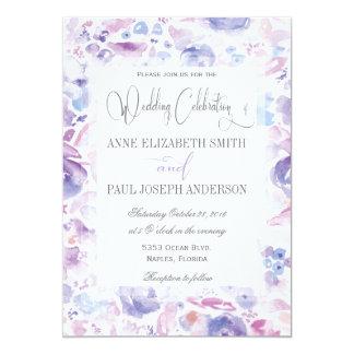 Purple Floral watercolor wedding invitation