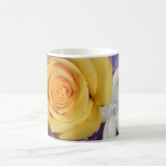 Purple floral wedding bouquet basic white mug