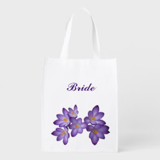 Purple Floral Wedding Bridal Reusable Grocery Bag