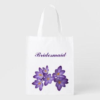 Purple Floral Wedding Bridesmaid Reusable Grocery Bag