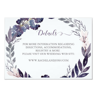 Purple Floral Wedding Details Card