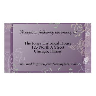 Purple Floral Wedding enclosure cards Pack Of Standard Business Cards