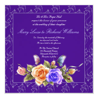 purple floral wedding invitation - butterflies