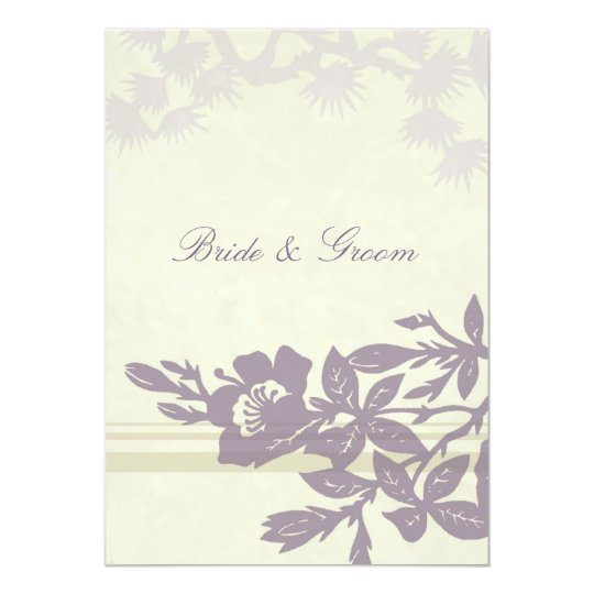 Purple Floral Wedding Invitation Card