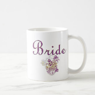 Purple Floral Wedding Invitation Set Basic White Mug