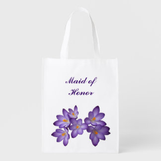 Purple Floral Wedding Maid of Honor Market Totes