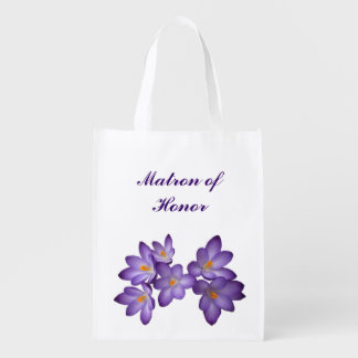 Purple Floral Wedding Matron of Honor Grocery Bag