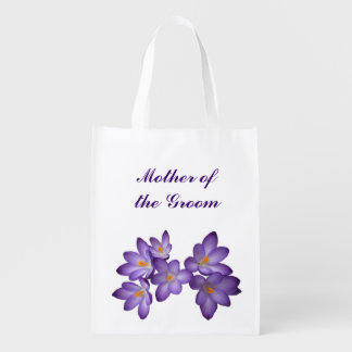 Purple Floral Wedding Mother of the Groom Tote Reusable Grocery Bag