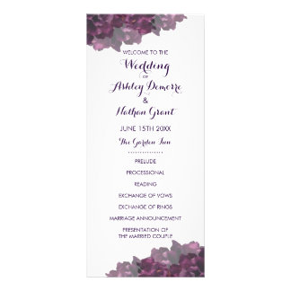 Purple Floral Wedding Program Rack Card