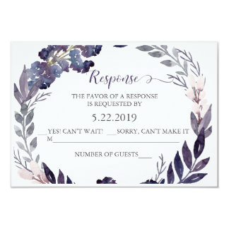 Purple Floral Wedding RSVP Card