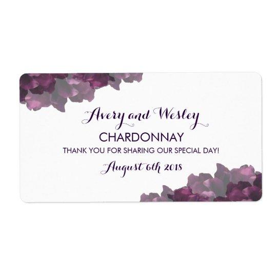 Purple Floral Wedding Wine Label