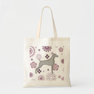 Purple Floral Weimaraner Tote with Grey dog