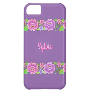 Purple Florals with/without Name or Initial(s) iPhone 5C Case
