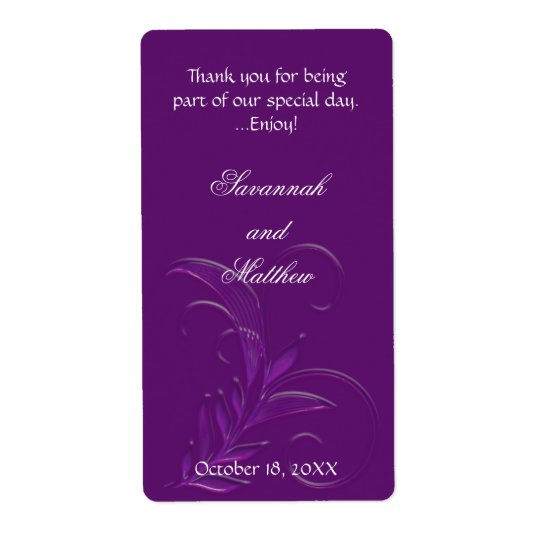 Purple Flourish Personalised Wedding Wine Labels