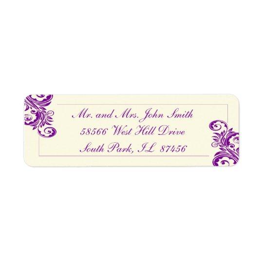 Purple Flourish Return Address Labels