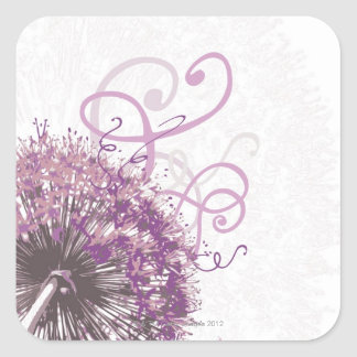 Purple Flower 3 Square Sticker