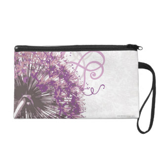 Purple Flower 3 Wristlet
