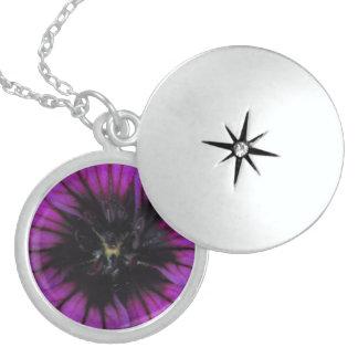 Purple Flower Abstract Round Locket Necklace