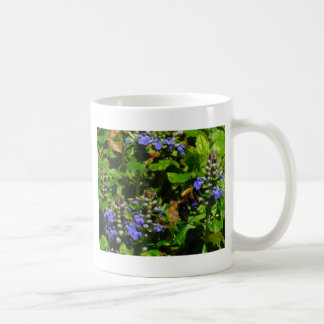 Purple Flower and Bumble Bee Basic White Mug