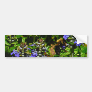 Purple Flower and Bumble Bee Bumper Sticker