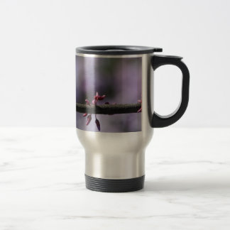 Purple Flower and Stem Travel Mug