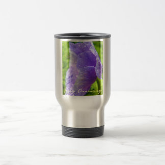 Purple Flower Anniversary Stainless Steel Travel Mug