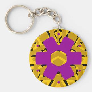 Purple flower art keychains
