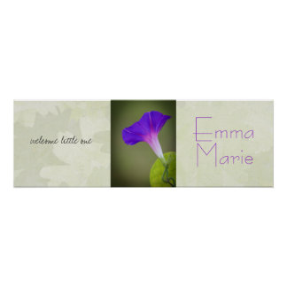 Purple Flower Baby Shower Banner/Nursery Art Print