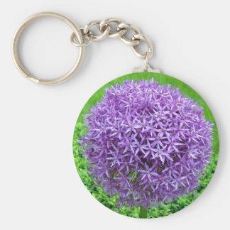 Purple Flower Ball Basic Round Button Key Ring
