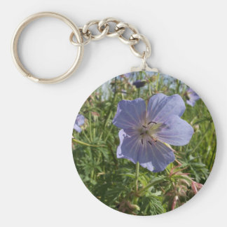 Purple Flower Basic Round Button Key Ring