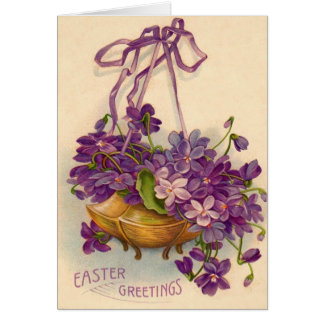 Purple Flower Basket Greeting Cards