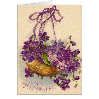 Purple Flower Basket Greeting Card