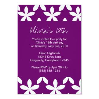 "Purple Flower Birthday Invitation 5"" X 7"" Invitation Card"