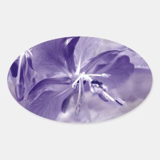 Purple Flower Bokeh Oval Sticker
