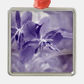Purple Flower Bokeh Silver-Colored Square Decoration