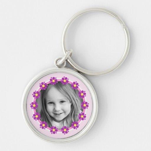 Purple flower border photo frame custom photograph keychains