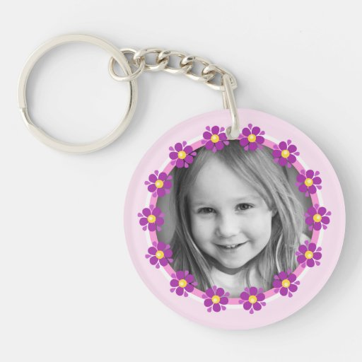 Purple flower border photo frame custom photograph acrylic keychains