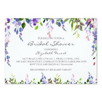 purple flower bridal shower invitation